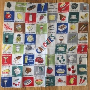 Vintage Food Calories Novelty Handkerchief